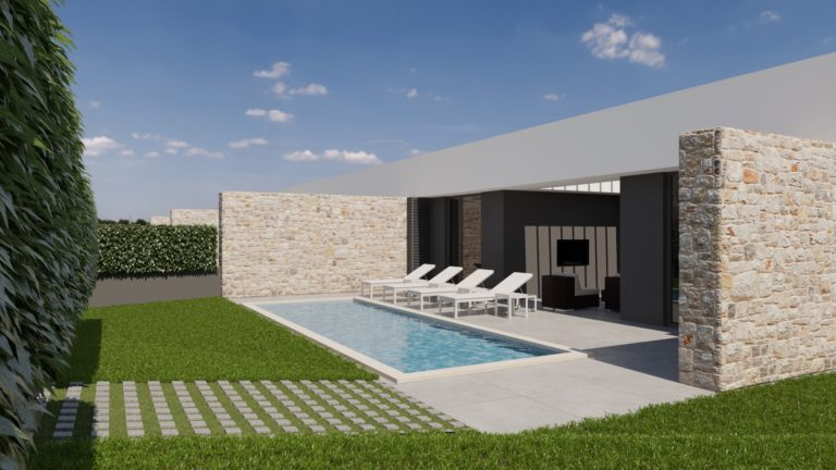 Projekt četiri kuće s bazenima